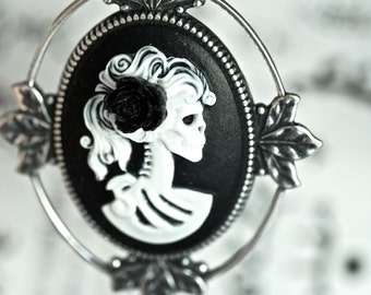 Miss Skeleton Nouveau Necklace - White Black Gothic Zombie Lady Cameo - Black Resin Flower - Insurance Included