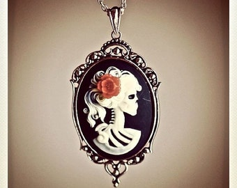 Miss Skeleton Gothic Necklace - Lolita Zombie 25x18mm Cameo - 6 Cameo Colors - 5 Flower Colors - Insurance Included