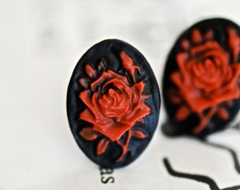 Bloody Rose Cameo Earrings - Made In USA Surgical Steels - Insurance Included