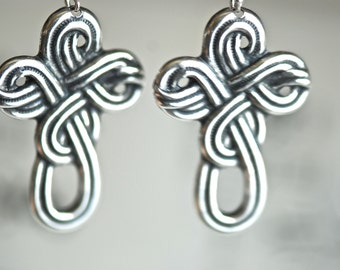 Celtic Cross Earrings - Made in USA Findings - Solid Sterling Silver Ear Wires