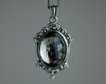 Black Diamond Necklace - VIctorian Goth Vintage Swarovski Crystal Cabochon - 2 Different Chains Materials - Insurance Included