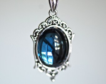 Mystic Falls Necklace - VIctorian Goth Vintage Swarovski Montana Crystal Cabochon - 2 Different Chains Materials - Insurance Included