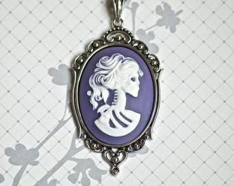 Miss Skeleton Gothic necklace - White Lavender Purple Lolita Zombie Lady Cameo - Free Domestic Shipping