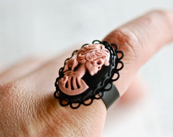 Miss Skeleton Ring - Pink Black Zombie Girl - Matte Black Lace 25x18mm - Insurance Included