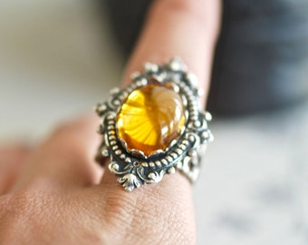 Liquid Topaz Ring - VIctorian Goth Vintage Topaz Swarovski Cabochon - Made In USA Components -  Insurance Included