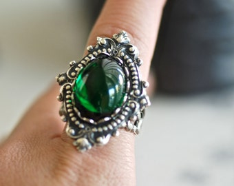 Emerald City Ring - VIctorian Goth Emerald Swarovski Cameo - Made In USA stamping