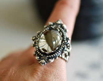Black Diamond - VIctorian Goth Swarovski Vintage Crystal Cameo Ring - SOLDERED - Made in USA findings