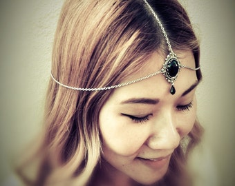 Midnight in Forks Chains HeadPiece - Antique Sterling Silver American Brass - Swarovski Jet Crystals - Domestic Free Shipping