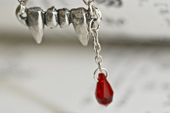 Vampire Fang Necklace - Swarovski Siam Crystal Drop -  FREE Domestic SHIPPING