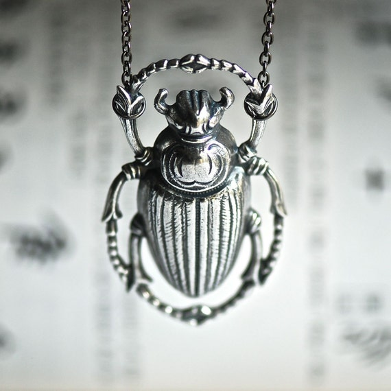 Scarab Necklace - antique sterling silver plated - Made in USA brass stamping