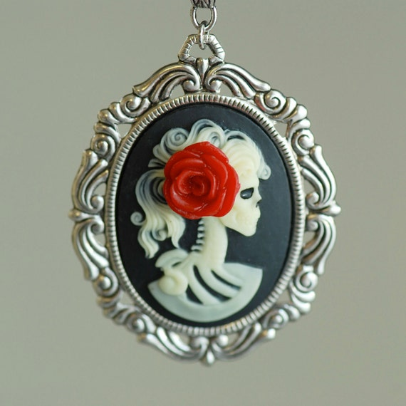 Miss Skeleton Rococo necklace - Ivory Black Lolita Zombie Gothic Cameo - Made in USA Setting