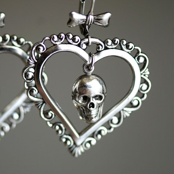 Sweet November - Victorian Ornate Skull Hearts Bow lever backs - Made in USA stampings
