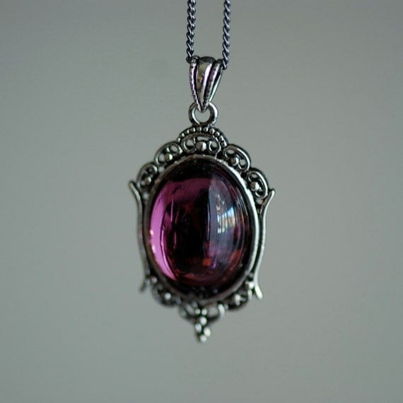 Katherine Necklace - Victorian Goth Vintage Swarovski Amethyst Crystal Cabochon - 2 Different Chains Materials