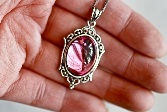 Rosalie Necklace - Victorian Goth Vintage Swarovski Rose Pink Tourmaline Crystal Cabochon - Insurance Included