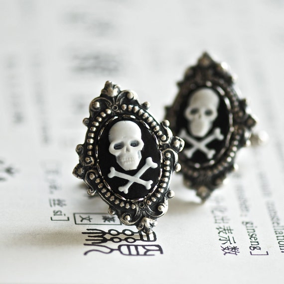 Charles Victorian Goth Cuff Links - SOLDERED - White Black Cross Bones Cameo - Made in USA Stampings