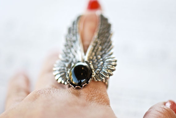 Selene Ring - SOLDERED Gossamer Angel Steampunk Filigree Wings - Swarovski Jet - Free Domestic Shipping
