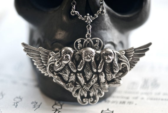 Three Wise Monkeys Necklace Necklace - See, Hear, Speak No Evil - SOLDERED Made in USA Components