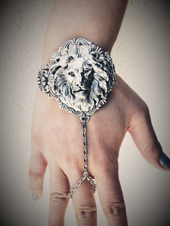 The Lion Slave Bracelet Ring - American Made Antique Sterling Silver Brass - Free Domestic Shipping