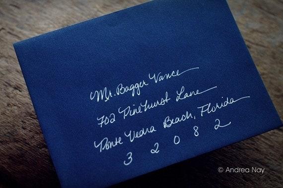 FALL SALE - Hand Addressed Wedding Calligraphy - Jeanne Script - Monoline