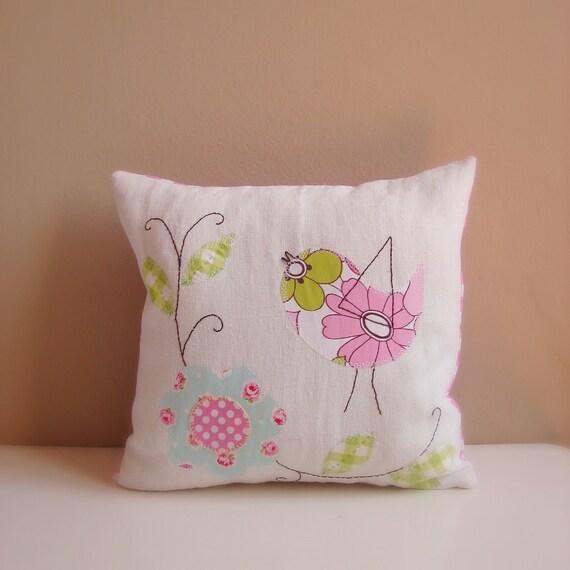 Cushion slip applique bird with flower