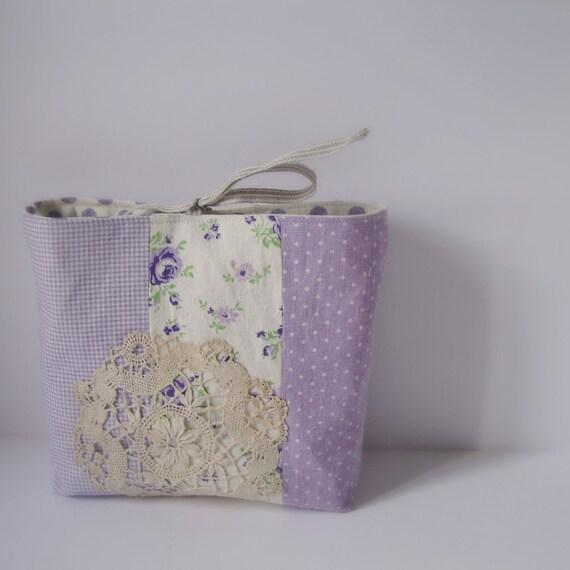 Pouch purple linen