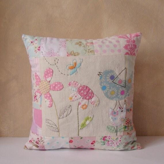 Cushion slip patchwork bird and flowers
