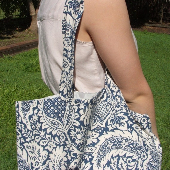 Blue grey and stone patterned shopping or tote bag, spacious, strong, lined, cotton