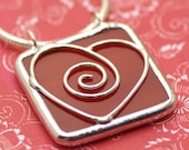 SALE - Heart - Stained Glass Pendant with chain\/cord