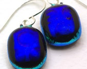 SALE - Blue Dots - Dichroic Fused Glass Earrings