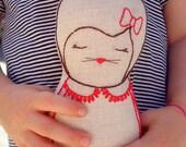 Florence rabbit - Linen doll, plush toy, Nursery Decor