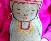Noah - Native American Inspired Linen doll plush toy, Nursery Decor