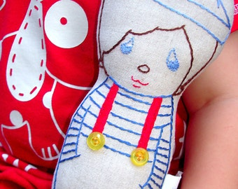 Pablo Sailor - Linen doll plush toy, Hand embroidered, Boy, Nursery Decor, New baby gift, Natural soft toy, Seaside, Marine, Blue and red
