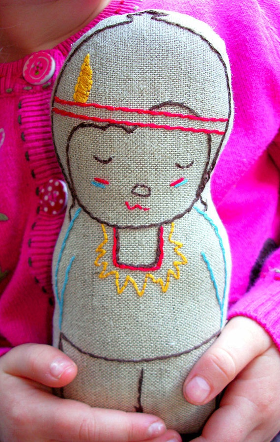 Noah, Hand embroidered, Linen boy plush doll, Native American Inspired, New baby gift, Natural soft toy, Imaginitive play