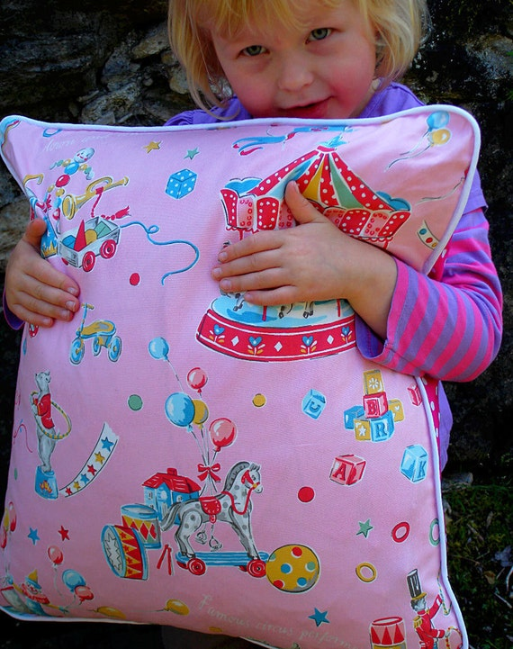 Retro Circus cushion in pink, Girl, Nursery decoration, Home, Carousel, French,