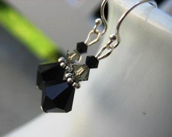 Teacher Gift Black Dressy Earrings Swarovski Crystal, Sterling Sivler