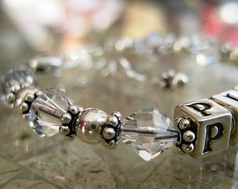 Custom BABY CHILD /NAME Bracelet- Sterling Silver, Swarovski Crystal, Baptism, 1st Communion