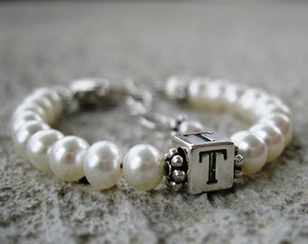 Baptism Gift Baby/Girl/Child Initial Name Bracelet- Freshwater Pearl, Sterling Silver, - 1st Communion, Wedding,