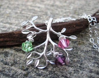 Family Tree Necklace- Sterling Silver, Swarovski Crystal, Birthstone Necklace, Personalized Jewelry, Mom Necklace, Gift for Her