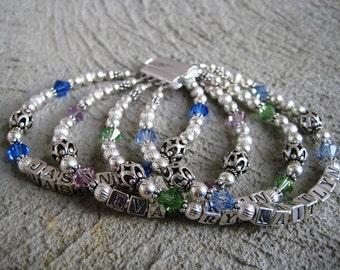 Mothers Day Bracelet Four Strand Mother's Name Bracelet- Sterling Silver, Swarovski Crystal