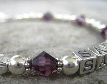Personalized Mother/Grandma Name Bracelet-SARAH Sterling Silver/Swarovski Crystal