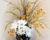Zen Garden Silk Flower Arrangement, White Gerber Daises, Gold Wildflowers, Willow Sprays