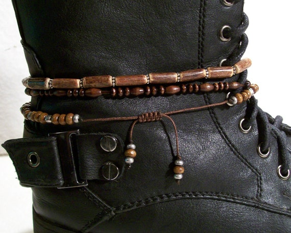 Stretch Wood Boot Bracelets His And Or Hers Sets