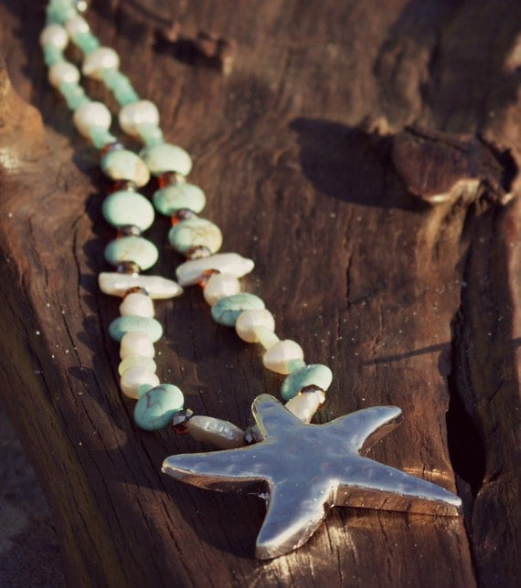 Starfish Turquoise Pearl Necklace