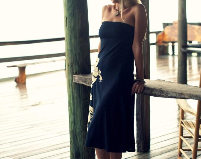 Tropical honeymoon black beach sundress