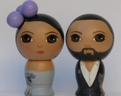 Custom Wedding Cake Toppers with Cat and Dog Hand Painted on Side Kokeshi Doll Style