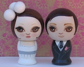 Custom Wedding Cake Toppers Hand Painted Wooden Kokeshi Dolls