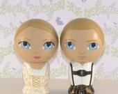 Custom Wedding Cake Toppers Hand Painted on Wooden Kokeshi Dolls