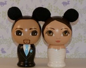 Custom Wedding Cake Toppers Hand Painted with Mouse Ears