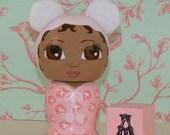 Custom Birthday Cake Topper Hand Painted Wooden Kokeshi Doll