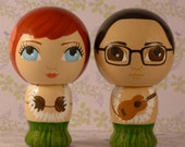 Custom Hawaiian Wedding Cake Toppers Hand Painted on Wooden Kokeshi Dolls